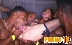 gangbang interracial porno video